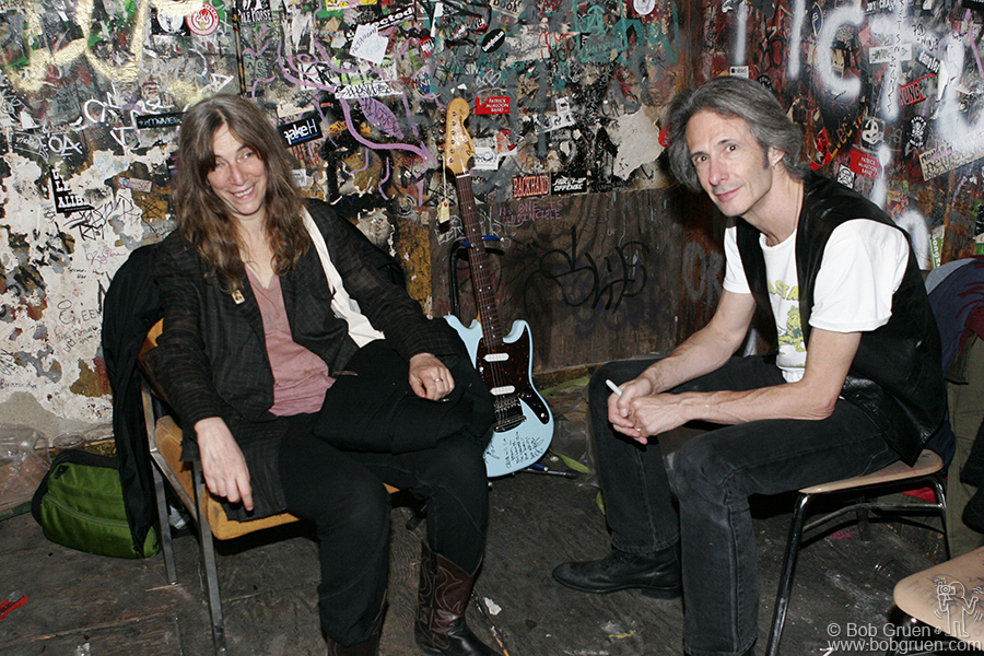 Patti Smith and Lenny Kaye calm down in the always funky dressing room as the final hours ticked away. Lenny said he was surprised at how emotional he felt, and I pointed out that we had been coming to the place for more than half of our lives.