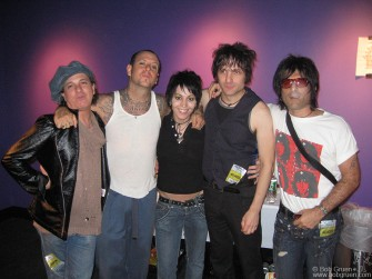 Social Distortion played at the Nokia Theater in Times Square. Saying hello to Mike Ness backstage are Sylvain Sylvain, Mike, Joan Jett, Jesse Malin and Steve Conte.