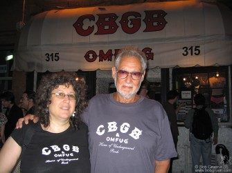 Hilly Krystal and his daughter Lisa at the party for Hilly's photo book of the history of CBGB. They are fighting to keep the space they've used for the last 32 years but may have to move come October.
