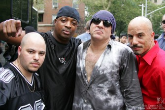 Little Steven Van Zant organized a concert in Washington Square Park to call attention to the fate of CBGB's. Here's Little Steven with Public Enemy, who played as part of the benefit.