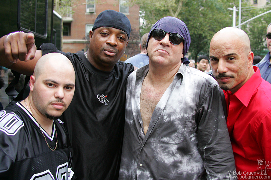 Aug 31 - NYC - Little Steven Van Zant organized a concert in Washington Square Park to call attention to the fate of CBGB's. Here's Little Steven with Public Enemy, who played as part of the benefit.