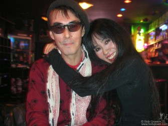 Rockers Sheena and Makoto of Sheena and the Rokkets relax with the good music played by DJ Sushi at the Creation bar in Shinjuku.
