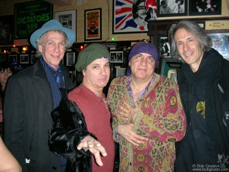 "When the DVD of my vintage New York Dolls videotapes ""All Dolled Up"" was released in December we had a party at Manitoba's bar on Ave B in NY. At the party with me are New York Doll Sylvain Sylvain, Little Steven and Lenny Kaye."