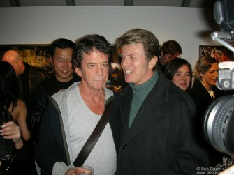 Lou Reed exhibited some of his recent photographs with a party at the Hermes store on Madison Ave. in New York and David Bowie came to congratulate him.