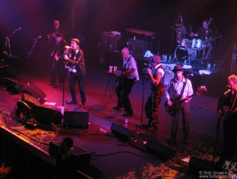 The Pogues played a reunion with their original lineup and a standing Shane MacGowan at the Nokia Theater on Saint Patrick's Day.