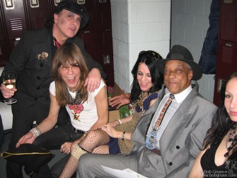 The New York Dolls were visited by Blues legend Hubert Sumlin at the John Varvatos party for his new sneaker line.