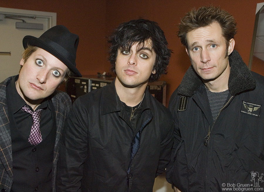 Green Day hanging out backstage.