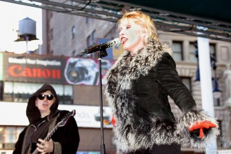 Debbie sings with passion as Blondie rock the downtown area around NY City Hall.