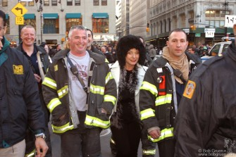The lucky Firemen who escorted Debbie were very happy.
