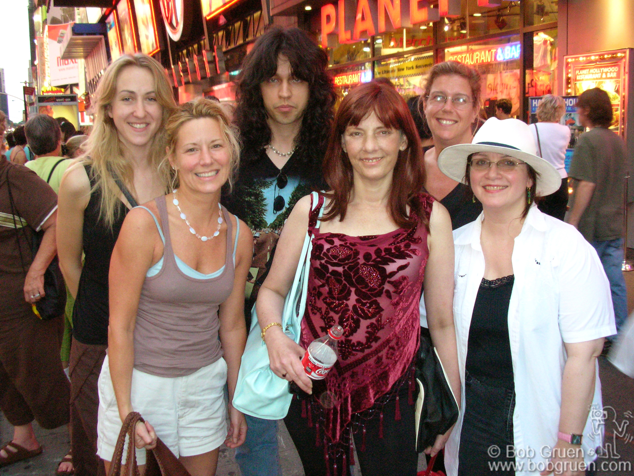 "July 17 - NYC - From left to right photographers Hanna Toresson & Linda Rowe, Bill May & Virginia Lohle from Star File Photo Agency, my wife Elizabeth and Karla Merrifield in Times Square after a screening in July for the new film ""US vs John Lennon""."