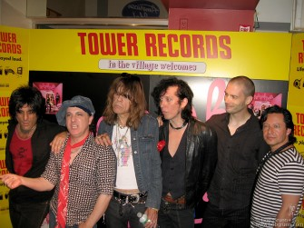 New York Dolls from the left are Steve Conte, Sylvain Sylvain, David Johansen, Sami Yaffa, Brian Koonin & Brian Delaney.