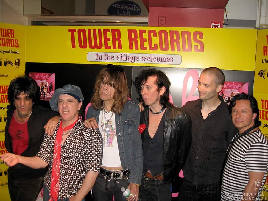 New York Dolls from the left are Steve Conte, Sylvain Sylvain, David Johansen, Sami Yaffa, Brian Koonin & Brian Delaney.