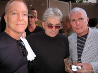 "Aug 9 - Fred Schneider, Chris Stein & Glenn O'Brien at the party for the DVD release of Glenn's ""TV Party the Documentary"" held at the Soho Grand."