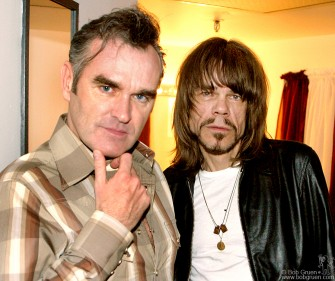 Morrissey and David Johansen pause for a moment between sets at New York's Apollo Theater.