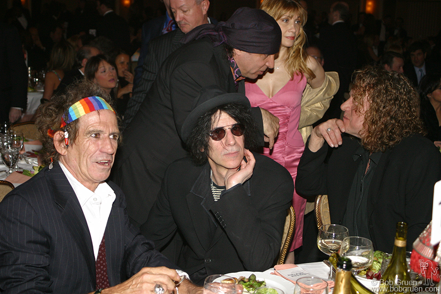 March 15 - NYC - As people took their seats Keith Richards chats with Peter Wolf while Little Steven says Hi! to Robert Plant and his wife.