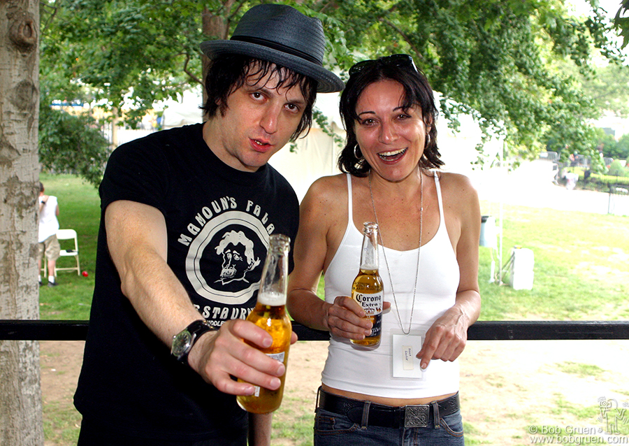 Before going on, Jesse shares a beer with his manager Diane Gentile.