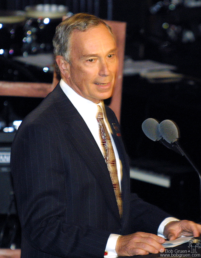 "New York's Mayor Mike Bloomberg welcomed the festive crowd saying ""New York Rocks!"". He said the Police song ""Every Breath You Take"" inspired the city's new antismoking laws."