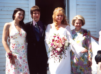 Aug 25 - Supermodel, SuperRocker, Supermom Bebe Buell married musician Jim Wallenstein (of Vacationland) in Maine. It was a postcard perfect day as Bebe's daughter Liv Tyler posed with Jim and Bebe and Bebe's mom Dorothea Johnson.