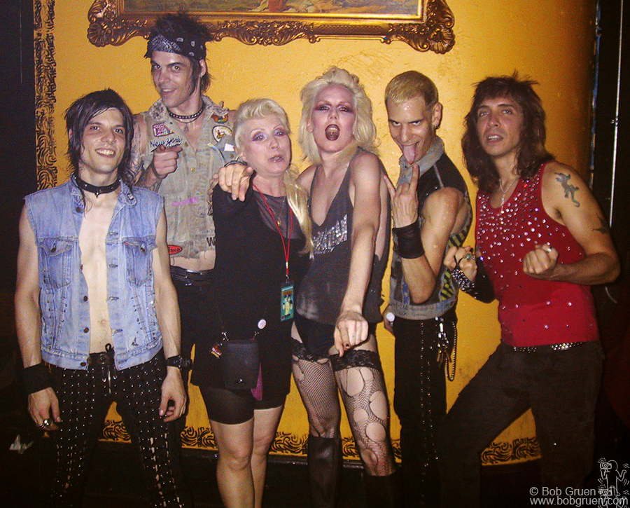 Sept 9 - NYC - The fantasticly exciting Toilet Boys opened for Nina Hagan at Webster Hall in New York. Debbie Harry came to see them and posed for this backstage photo with them.