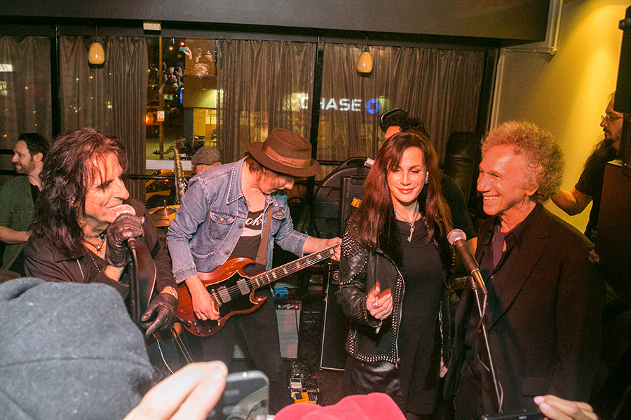 Oct 23 - NYC - My birthday party this year was the best yet! Alice Cooper came and sang 'I'm Eighteen', and insisted I sing backup with his wife Sheryl. See it on Youtube. Photo by David Appel.