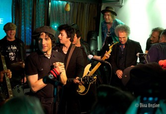 Jesse Malin put together a great band for the night. Billie Joe Armstrong came and sang 'Sheena is a Punk Rocker' and joined in on several other songs. See it on Youtube. Photo by Dina Regine.