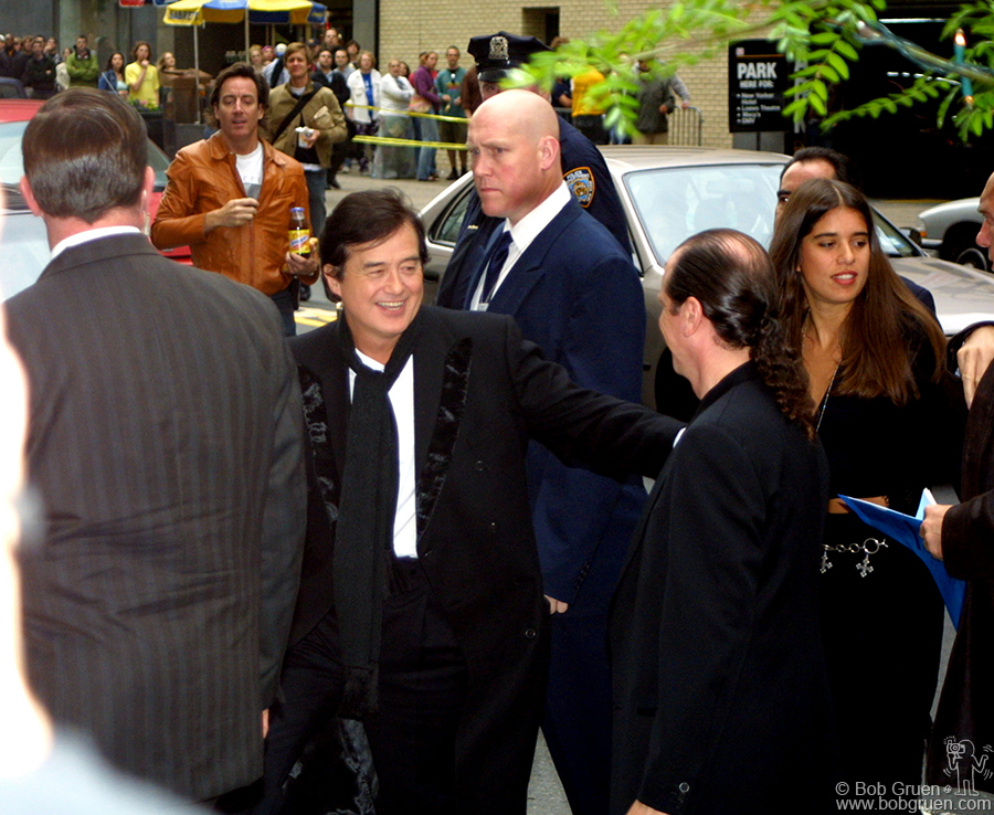 "May 27 - NYC - Jimmy Page arrived at the opening for the release of the Led Zeppelin movie ""The Song Remains The Same"" on a DVD."