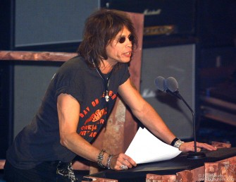 """Steven Tyler gave a Rock & Roll welcome to ACDC saying """"There is no greater purveyor of the power chord""""."""