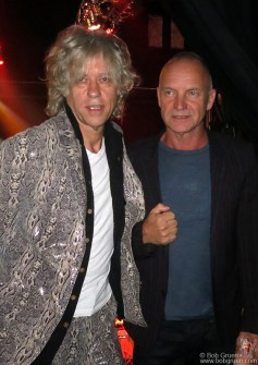 Sept 26 - Sting came to see his friend Sir Bob Geldof reunited with the Boomtown Rats for some original punk rock.
