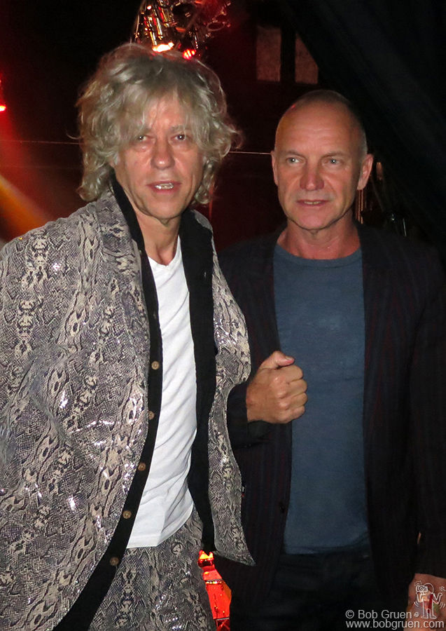 Sept 26 – NYC - Sting came to see his friend Sir Bob Geldof reunited with the Boomtown Rats for some original punk rock.