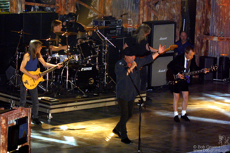 "AC/DC got the crowd up on their feet with ""Highway to Hell"" and ""You Shook Me All Night Long"""