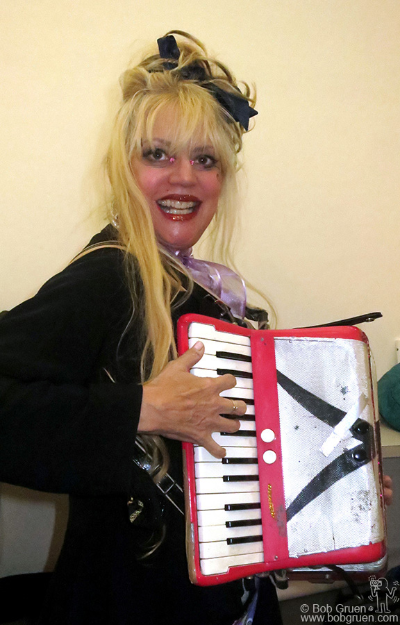 Oct 29 - NYC - The unique performance artist Phoebe Legere played her accordian as part of an evening of cool downtown fun.