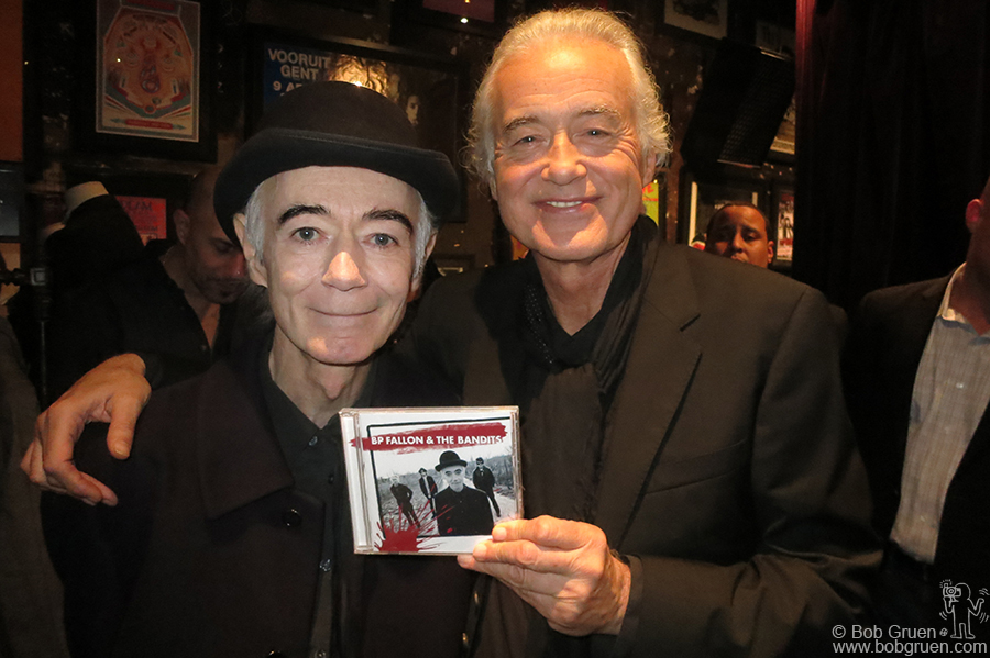 Nov 6 - NYC - John Varvatos interviewed Jimmy Page about his life and the stories in Jimmy's new book. Jimmy was happy to see his old friend BP Fallon there.