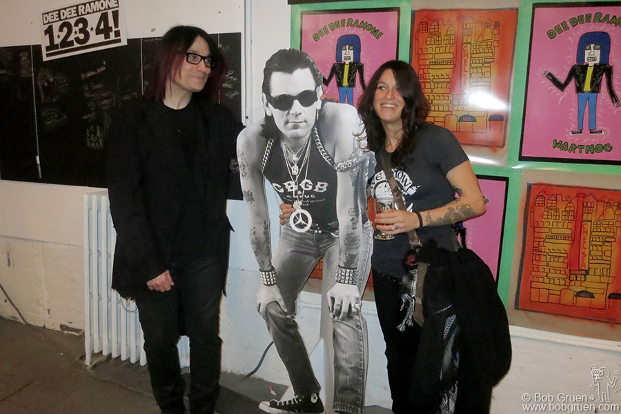 Dec 9 - NYC - John Cafiero organized an amazing exhibition of artwork by Dee Dee Ramone ... in the photo above with Dee Dee's widow Barbara.