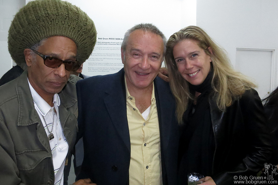 "Oct 9 - London - My exhibition 'Rock Seen' opened at the Huntingdon Gallery in the hip Shoreditch part of town. Above good friends Don Letts and Chris Salewicz say ""Hi!"" to Elizabeth."
