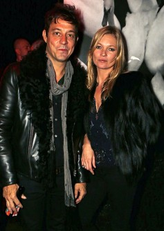 Oct 9 - Kate Moss and Jamie Hince made an entrance at the exhibition after-party at the Ace Hotel. Photo by David M. Benett.