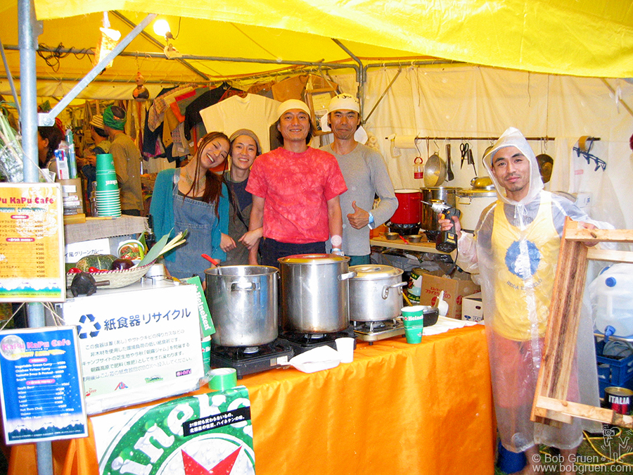 July 25 - Japan - Our favorite cafe, the Kapu Kapu, had a cheery staff and tasty Sochou from Okinawa.