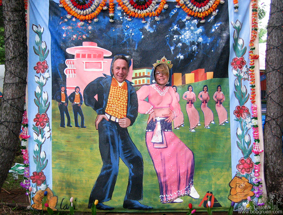 July 26 - Japan - Elizabeth and I are ready to dance our way around the Festival site. Many unusual artworks were set up all around the site by Gordon McHarg and his wife Ale.
