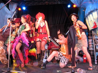 Nearing the end of the Festival, Gaz Mayall took a turn with the Can Can Girls at the Palace of Wonder stage.