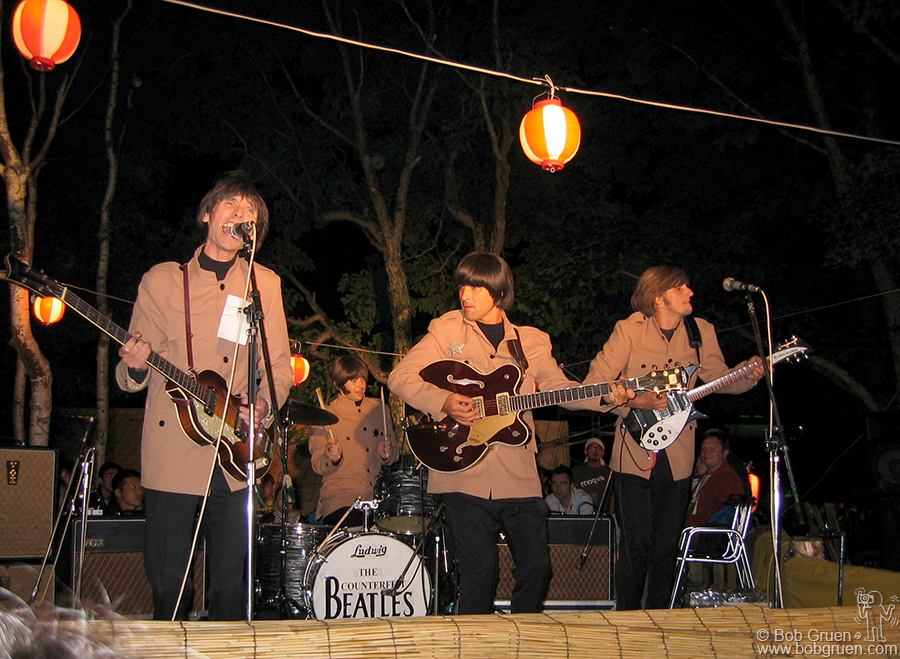 July 27 - Japan - The Counterfeit Beatles played all over the festival, from the main Green Stage to a small one set up in the woods. Wherever they played everyone who saw them sang along. You gotta love the Beatles.