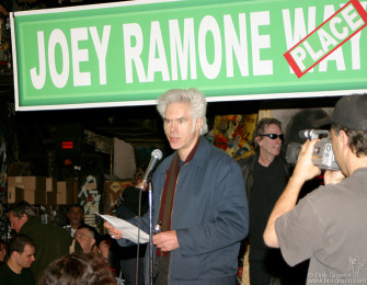 Jim Jarmusch read a list of other notables who've had streets named for them, showing that Joey was in the company of greats like Joe DiMaggio and John Coltrane.