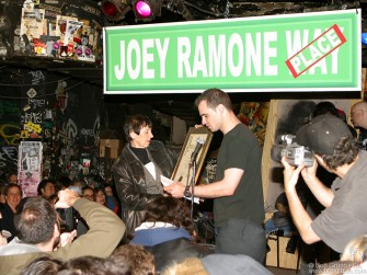 At a ceremony in nearby CBGB's, Joey's mom received the official proclamation from Mayor's office.