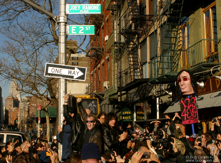 Nov 30 - NYC - New York City formally dedicated Joey Ramone Place at Bowery and East 2nd street, where Joey used to live.