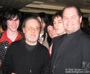 Jan 16 - NYC - At the Hard Rock Cafe party celebrating the 40th anniversary of the Beatles arrival in the US, Tommy Ramone and Micky Dolenz (of the Monkees) are surrounded by the Star Spangles.