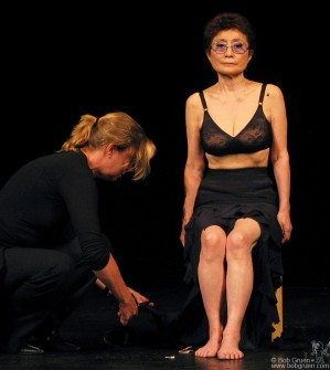 """Sep 15 - Yoko Ono performed her """"Cut Piece"""" for the first time since 1965, For """"Cut Piece"""" Yoko invited the audience to come onstage one at a time and cut a piece of her clothing off. It is a very tense event as Yoko is vulnerable to strangers. It is a piece symbolic of the way we must open ourselves to each other to obtain peace in the world."""