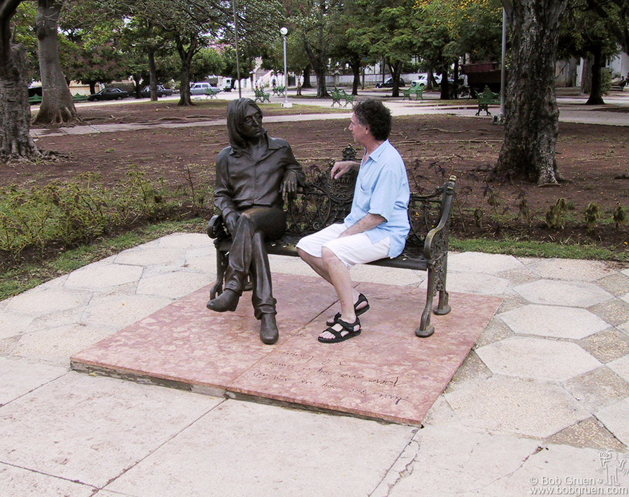 The sculpture is so natural looking and is in such a normal, peaceful neighborhood park that it feels very comfortable to sit and have a chat with the spirit of John Lennon. People come from all over Cuba, and all over the world, to visit with John and have a photo taken there. As you can see above, I couldn't resist the urge to sit down with him. It was very strange to see a bronze image of my friend, but also strangely very moving.