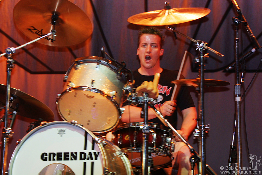 Tre is a wildman onstage, very reminiscent of the late Keith Moon of the Who. At the end of the show he usually trashes his drum kit and jumps on it.