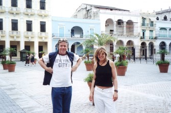 Chris Murray and Elizabeth in the Plaza Vieja. The Fototeca De Cuba Gallery is the blue building behind them. Also on the square are an elementary school, (the kids play in the square every day) and another art gallery and a cafe.