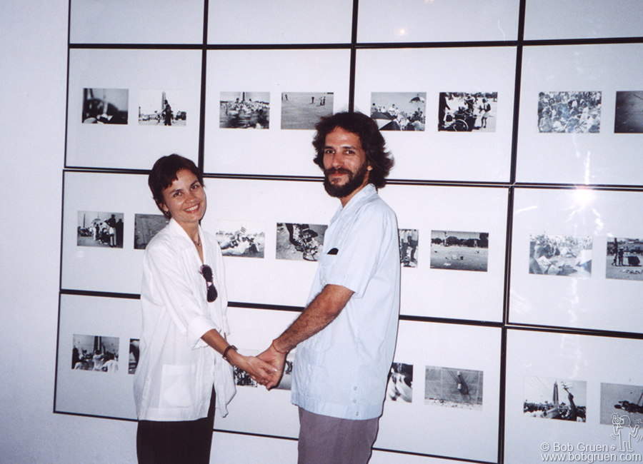 Nelson and his wife Lieudmilla showed some of their photos on the ground floor of the gallery. They have a series of images created with photos of the Revolution Monument in Havana with other scenes superimposed on them. Nelson said they work so well together that sometimes they don't know who took which photo.