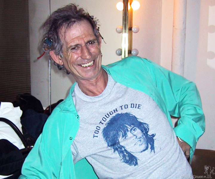 "March 6 - NYC - Keith Richards wearing a T-shirt with his photo and the words ""To tough to Die"", and he looks proud of it!"