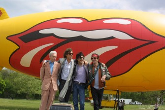 The Rolling Stones landed in New York to announce a new world tour. Flying in on a blimp with the Stones logo painted on it, they said they were looking forward to playing three types of shows: in stadiums, arenas and clubs. They all looked in fine form, except Charlie, who looked a little airsick from the blimp ride.